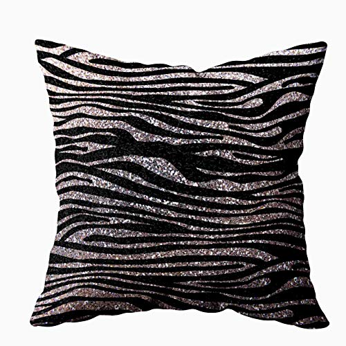 EMMTEEY Home Decor Throw Pillowcase for Sofa Cushion Cover,Silver Zebra Stripe Pattern Faux Glitter Bling Decorative Square Accent Zippered and Double Sided Printing Pillow Case Covers 20X20Inch
