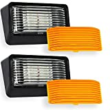 2 Pack LED RV Exterior Porch Utility Light - 12v 280 Lumen Lighting Fixture. Replacement Lighting for RVs, Trailers, Campers, 5th Wheels Black Base, Clear and Amber Lenses Included (Black, 2-Pack)