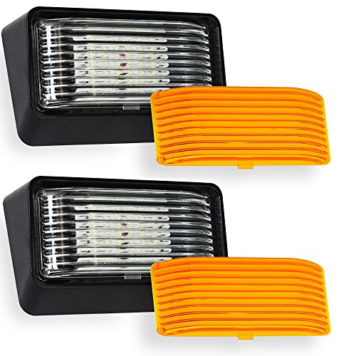 Leisure LED 2 Pack RV Exterior Porch Utility Light 12v 280 Lumen Lighting Fixture. Replacement Lighting for RVs, Trailers, Campers, 5th Wheels Black Base, Clear and Amber Lens (Black, 2-Pack)