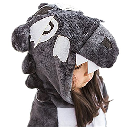 Couple Costume Wolf (ABING Halloween Pajamas Homewear OnePiece Onesie Cosplay Costumes Kigurumi Animal Outfit Loungewear,Wolf Chidren Size 95 -for Height:103-115cm)