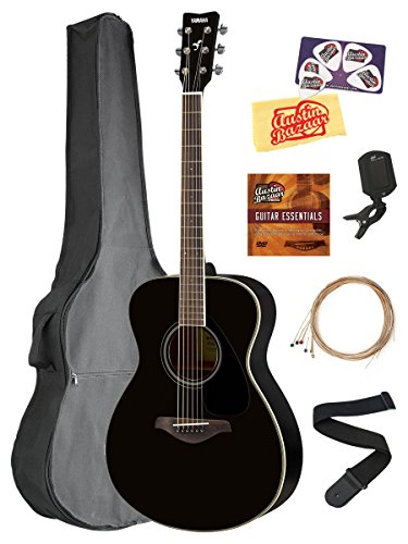- Yamaha FS820 Solid Top Small Body Acoustic Guitar - Black Bundle with Gig Bag, Tuner, Strings, Strap, Picks, Austin Bazaar Instructional DVD, and Polishing Cloth