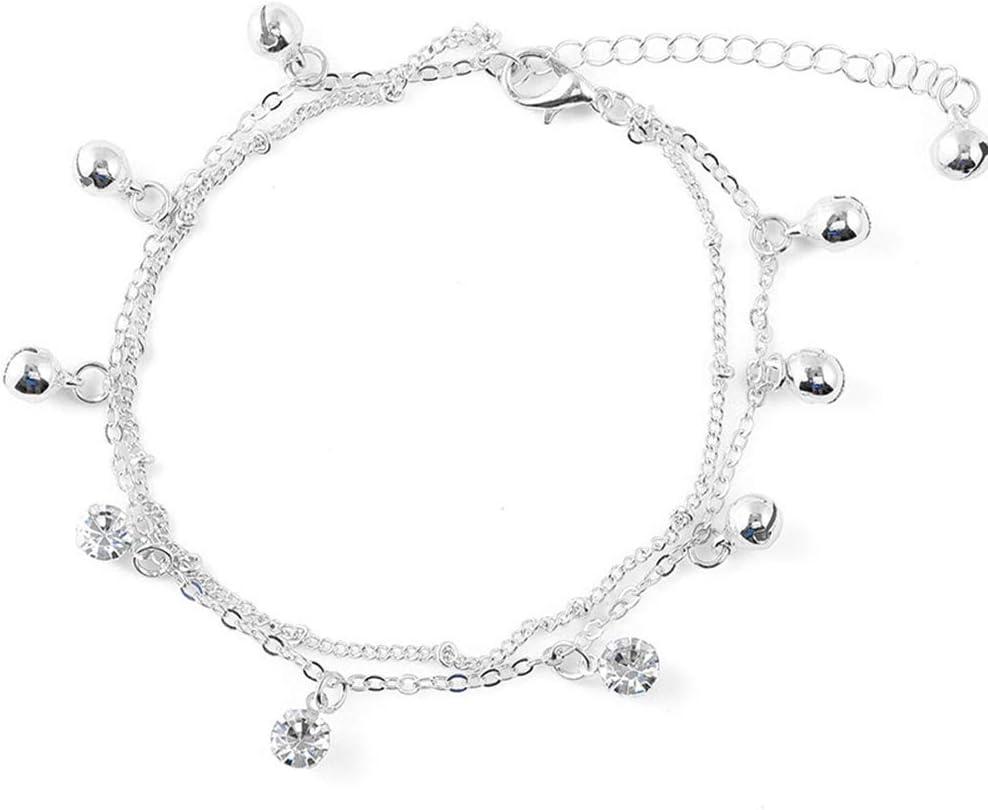 Feli546Bruce Bracelet De Cheville Femmes Cloche Strass Charme Double Couche Bracelet De Cheville Pied Bracelet Bijoux De Plage