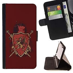 KingStore / Leather Etui en cuir / Samsung Galaxy S4 Mini i9190 / La Cresta del escudo insignia Majestic Gryphon