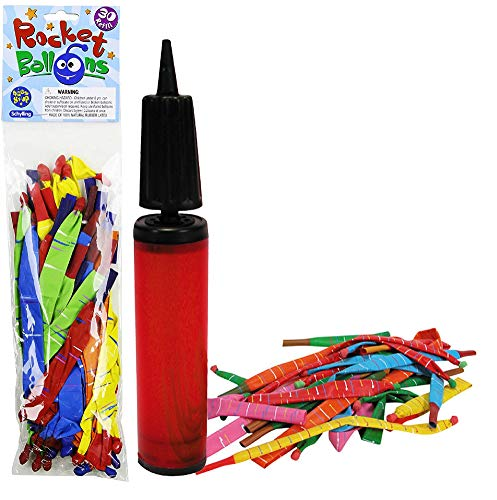 Schylling Rocket Balloons with Pump & Refill Pack Gift Set Bundle - 2 Pack (Assorted Colors)