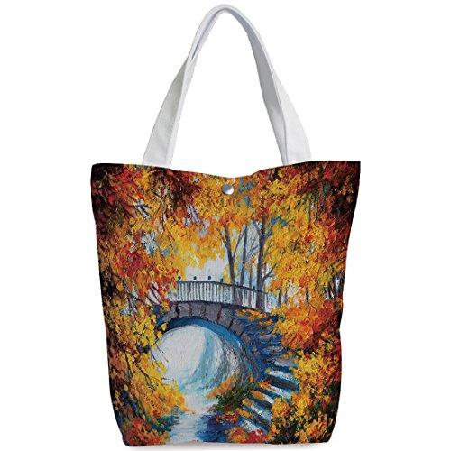 iPrint Canvas Shopping bag,shoulder handbags,Shoulder Bag,Art,Autumn Forest with A Bridge over Road Dramatic Season Shady Leaves Print Decorative,Marigold Vermilion Blue,Stylish Canvas Tote Bag