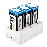 Keenstone 9V 800mAh Rechargeable Li-ion Battery with 3-Slot Charger for TENS Smoke Detector Multimeter Alarm System etc?3-Pack?