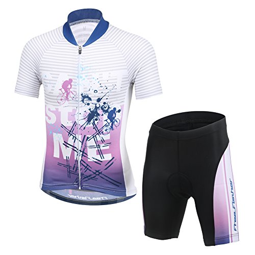 LSHDCER Kids Boys Girls Cycling Suit, Unisex Children Cycling clothing Set Breathable Jersey Short Sleeve + 3D Padded…