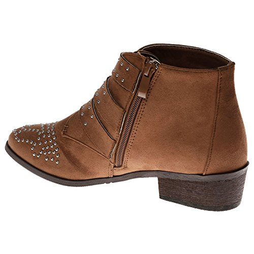 Biker Faux Suede Tan Fashion Womens Camel Boots Heel Feet Low Ankle Buckle First w7PxvCvnfq