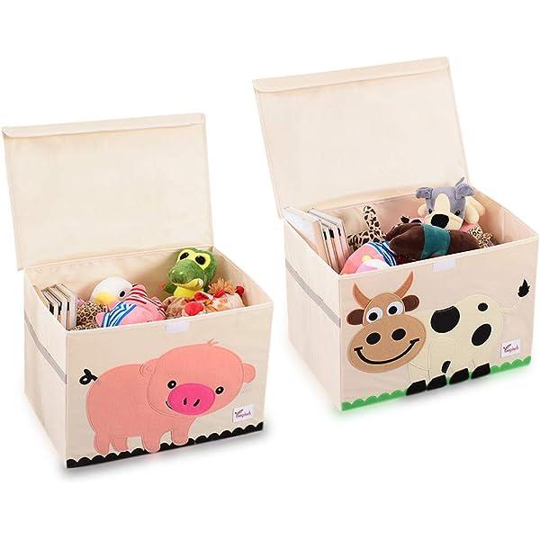 ropa libros y otros accesorios mDesign Organizador para juguetes Preciosa caja organizadora de tela Caja de almacenaje de color gris pardo y blanco con asas