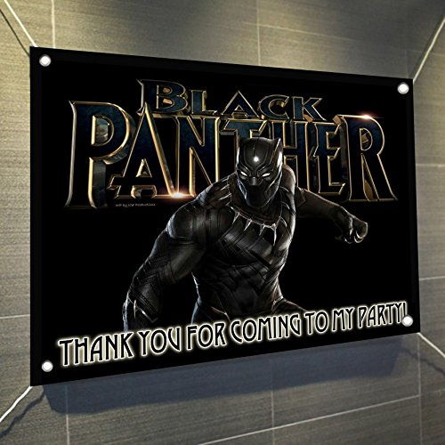 Black Panther Solo Banner with Logo in Back Large Vinyl Indoor or Outdoor Banner Sign Poster Backdrop, Party Favor Decoration, 30