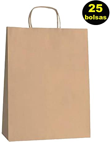 Yearol K01 25 Bolsas papel kraft marron con asa rizada. 30 * 22 * 9