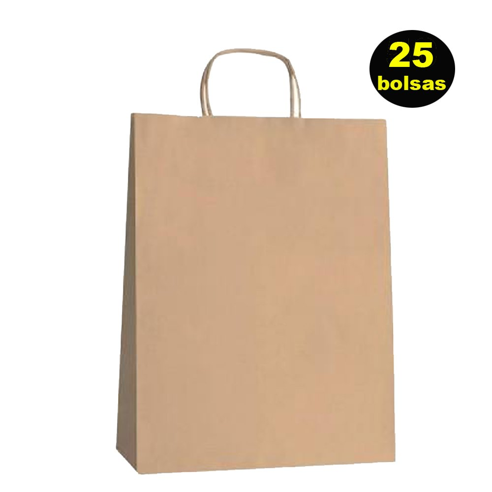 Yearol K01 25 Bolsas papel kraft con asas. 30 cm 22 cm 9 cm. Especial para regalos, comercio, compra, venta, manualidades, embalaje, transporte. Yearol ®