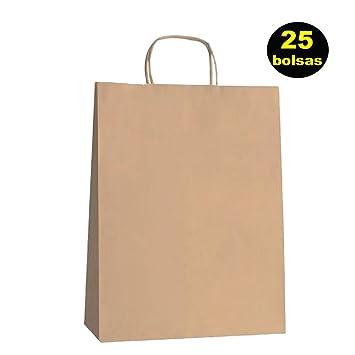 Yearol K01 25 Bolsas papel kraft marron con asa rizada. 30 * 22 * 9 Especial para regalo, eventos, bodas, cumpleaños, comercio, compra, venta, ...