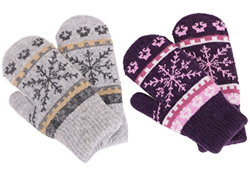 Women Snowflake Winter Knit Mittens Gloves, Purple/Light Grey Snowflake