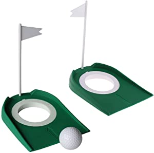 WSERE 2 Pack Golf Putting Cup Indoor Practice Training Aids, Indoor Outdoor Golf Putting Hole Putter Regulation Cup