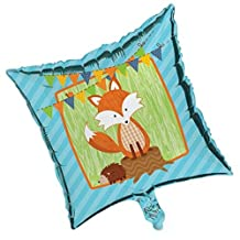 """Pack of 10 Forest Fox and Friends Blue Metallic Foil Square Shaped Party Balloons 18"""""""