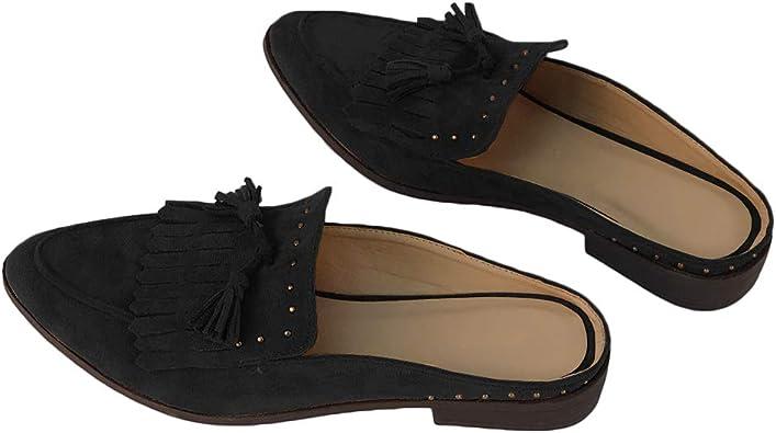 Ruanyu Womens Flat Mules Pointed Toe