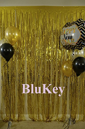 Gold-Foil-Fringe-Curtain-3FTX8FT Metallic Tinsel Photo Booth Wedding Props Glitter Party Background Decorations - Eye Diy Glitter Black