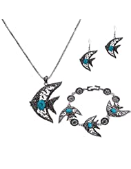 YAZILIND Jewelry Set Tibetan Silver Plated Blue Turquoise Fish Type Necklace Bracelet Earrings for Women Party