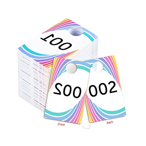Live Sale Plastic Tags, 001-999 Number Series, Reusable Normal and Reverse Mirror Image Hanger Cards, Select a Set of 100 Numbers, (001-100)