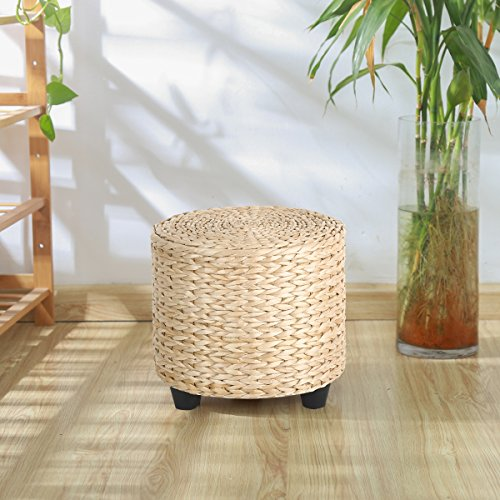 Eshow Square Footstools Wood Storage Stool Rectangular Seat Cube Organizer Home Furniture Ottomans Upholstered Ottoman Foot Stool Handmade (Ottoman Upholstered Cube)