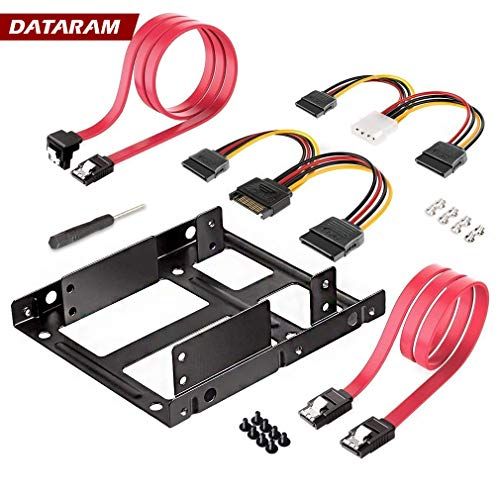 Dataram 2X 2.5 Inch SSD to 3.5 Inch Internal Hard Disk Drive Mounting Kit Bracket (SATA Data Cables and Power Cables Included)