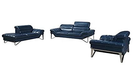 Ju0026M Furniture 3 Piece Astro Italian Leather Living Room Set In Electric Blue
