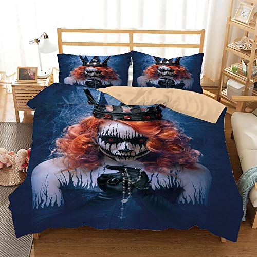 Queen Khaki Duvet Cover Set King Size,Queen of Death Scary Body Art Halloween Evil Face Bizarre Make Up Zombie,Decorative 3 Piece Bedding Set with 2 Pillow Shams,Navy Blue Orange -