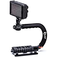 Zeadio Handheld Stabilizer + 160pcs Dimmable Video LED Light with Adjustable Color Temperature 3200K-5500K for Canon, Nikon, Pentax, SONY, Panasonic, Samsung and Olympus Digital SLR Camera Camcorder