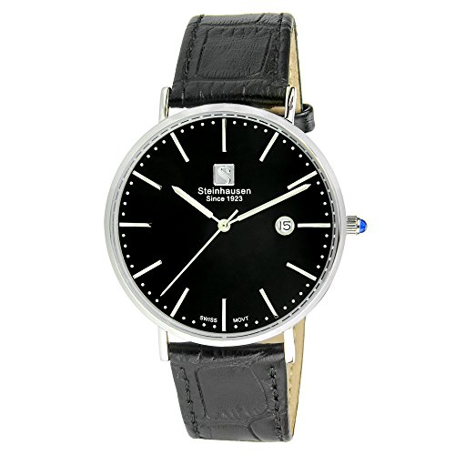 - Steinhausen Men's S0519 Classic Burgdorf Swiss Quartz Stainless Steel Watch With Black Leather Band