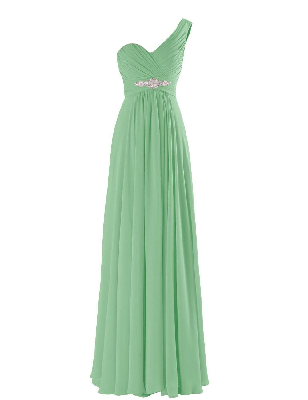 VaniaDress Women One Shoulder Chiffon Long Bridesmaid Dress Prom Gowns V198LF