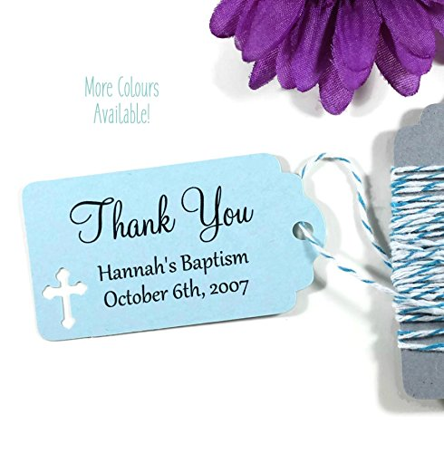 Light Blue Baptism Tags - Small Personalized Favor Tags - Baby Boy Christening (Set of 20)