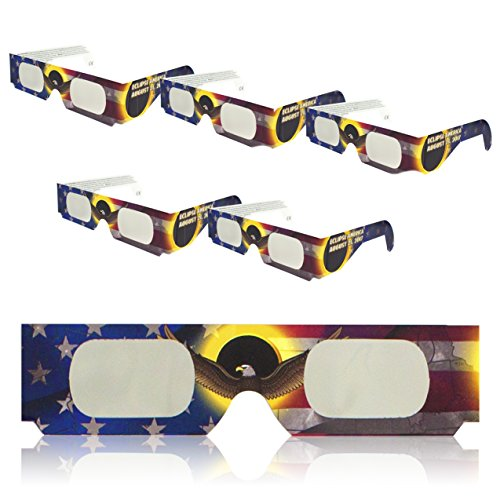 Solar Eclipse Glasses   Iso Certified   Safe For Direct Sun Viewing   Eye Filters   Made In The Usa   5 Pack   By Sol Specs