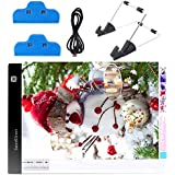 SanerDirect Diamond Painting A4 LED Light Pad - Dimmable Tracing Light Board Kit, Apply to Animation, Drawing with Detachable Stand and Clips