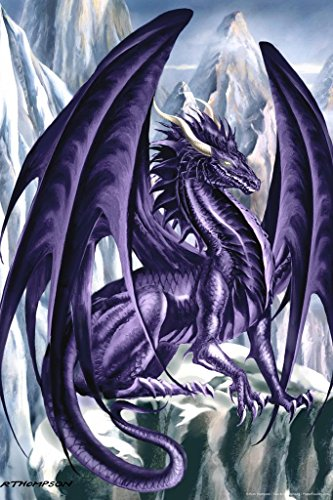 Hoarfrost Dragon Poster by Ruth Thompson 24x36 - Dragon Purple Wings Fantasy