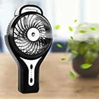 Handheld Misting Fan-Glamouric Mini USB Fan 2200mAh Built in Rechargeable Battery 3 Speeds Personal Cooling Mist Humidifier for Outdoor/Camping/Travel/Office-Black