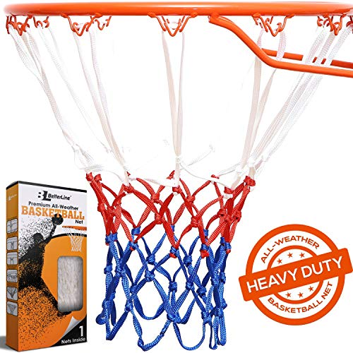 l Net Replacement | Red White and Blue All-Weather Thick Heavy Duty | 12 Loop Net Fits Standard Hoops for Indoor and Outdoor Rims ()