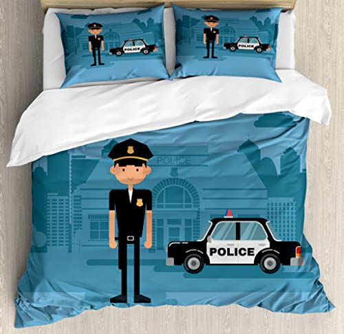 (Lunarable Police Duvet Cover Set Queen Size, Cartoon Officer Cop Standing in Front of The Station on Blue Background, Decorative 3 Piece Bedding Set with 2 Pillow Shams, Blue)