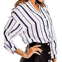 Pame Women Long Sleeve Blouses Juniors Tunic Tops Blouse Fashion Block Stripes Work Shirt Casual V Neck Clothing