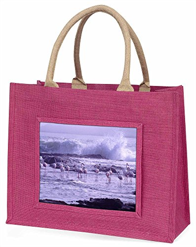 Advanta Flamingo auf Sea Shore Große Einkaufstasche Weihnachten Geschenk Idee, Jute, Rosa, 42x 34,5x 2cm