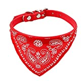 Uxcell Adjustable Faux Leather Pet Dog Doggie Scarf Bandana Collar, Free Size, Red