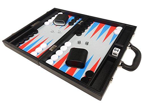 (Silverman & Co. 16-inch Premium Backgammon Set - Medium Size - Black Board, Scarlet Red and Patriot Blue Points)