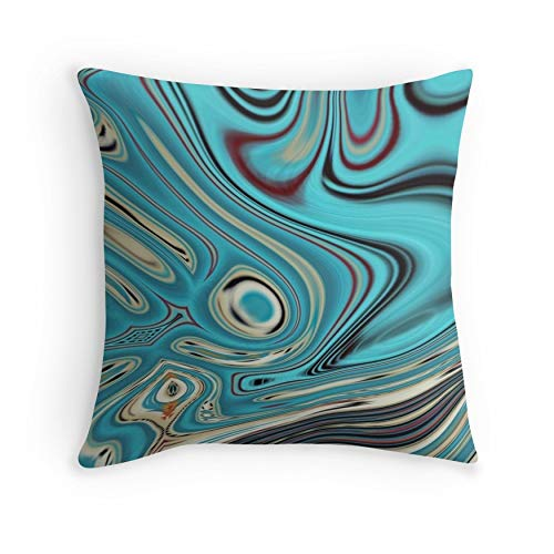 abstract beach marble pattern teal turquoise swirls for Sofa Couch Living Room Bed Decorative