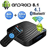 Android 8.1 TV Boxes, T95 Android TV Box with 4GB RAM 32GB ROM, Amlogic S905X2 Quad-core CPU, Support 2.4G/5G Dual WiFi/BT4.1/H.265/4K2K Full HD Smart TV Box