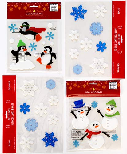 Window Stick Ons - Holiday Christmas Gel Clings: Decorations for Home Office Windows Mirrors and More! (Fun in The Snow)