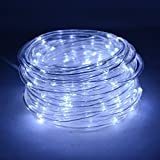 HAHOME Battery Operated 16.4Ft 50 LEDs Waterproof Outdoor Rope Tube Lights with Automatic Timer,Cool White
