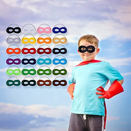 Superhero Masks Cosplay Half Party Eye Hero Felt Masks with Elastic Rope for Kids Party Halloween Christmas 24 Pack