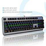 SAREPO Mechanical Gaming Keyboard - Mechanist Blue Switch 9 Modes Multicolor Led Backlight Gaming Keyboard Metal Body with 8 Extra Silent Black Switches for Pro Gamers