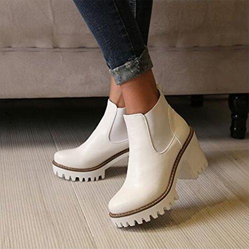 White Ankle Elastic Women's Elegant Heel Summerwhisper High Round Toe Lug Boots Platform Sole Boots Block Chelsea AwZqEqO1
