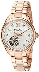 Bulova Women's Automatic Stainless Steel Casual Watch, Color:Rose Gold-Toned (Model: 97P121)